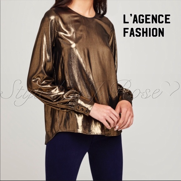 L'AGENCE Tops - NWT's L'AGENCE Fashion Gold Blouse
